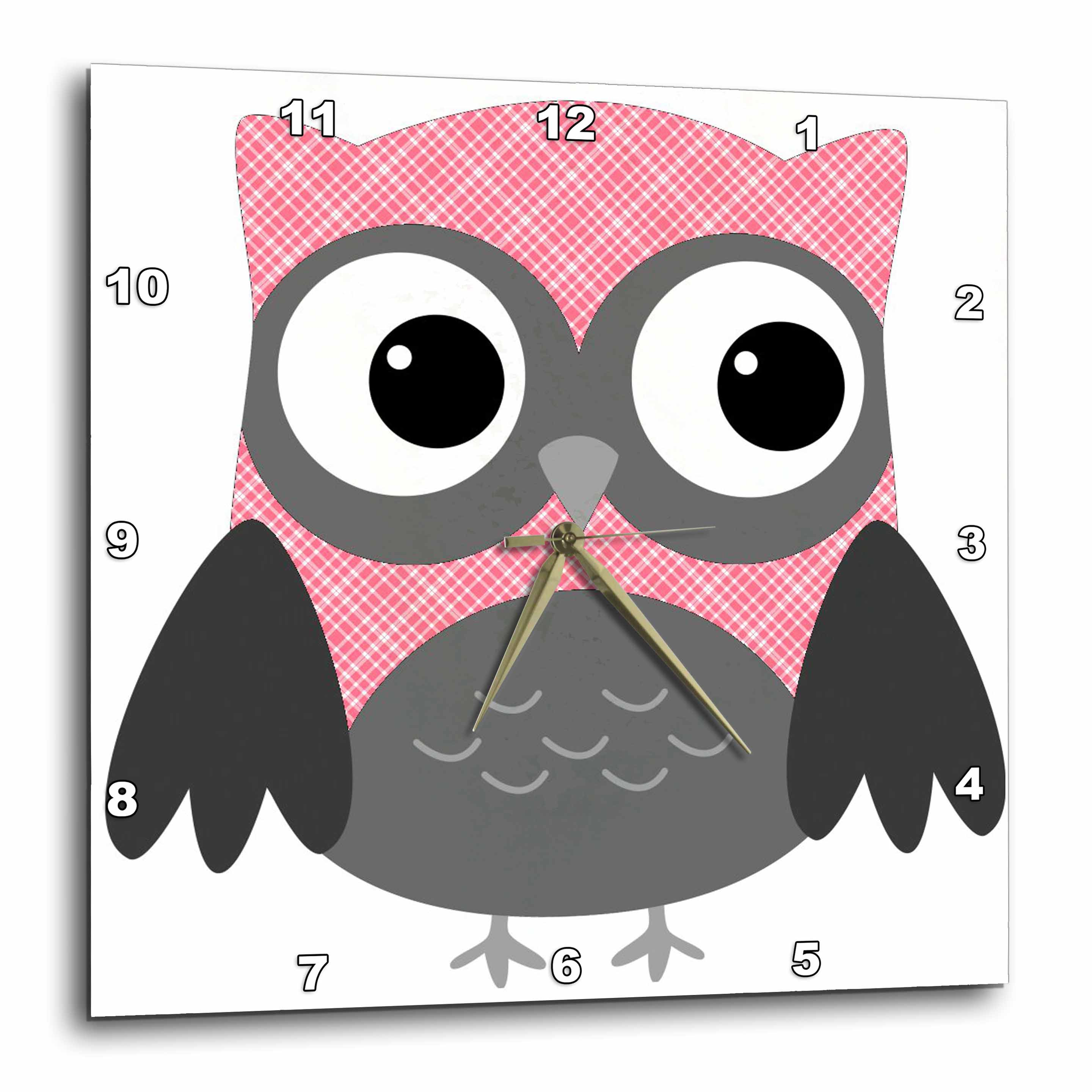 3dRose Cute Pink and White Plaid Owl, Wall Clock, 10 by 10-inch