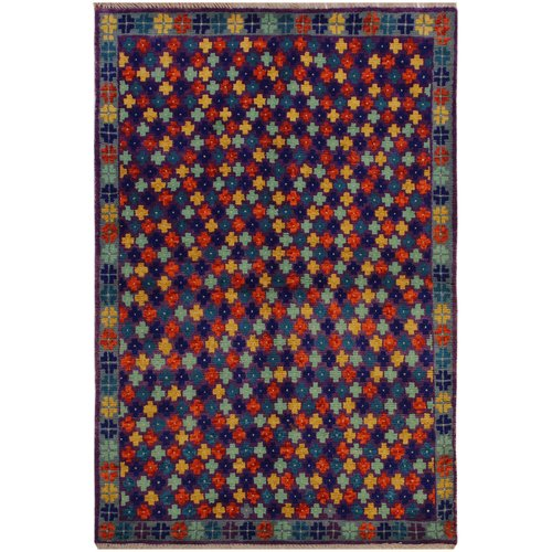 Isabelline One-of-a-Kind Laudalino  Hand-Knotted 3'4'' x 4'11'' Wool Purple/Red/Yellow Area Rug
