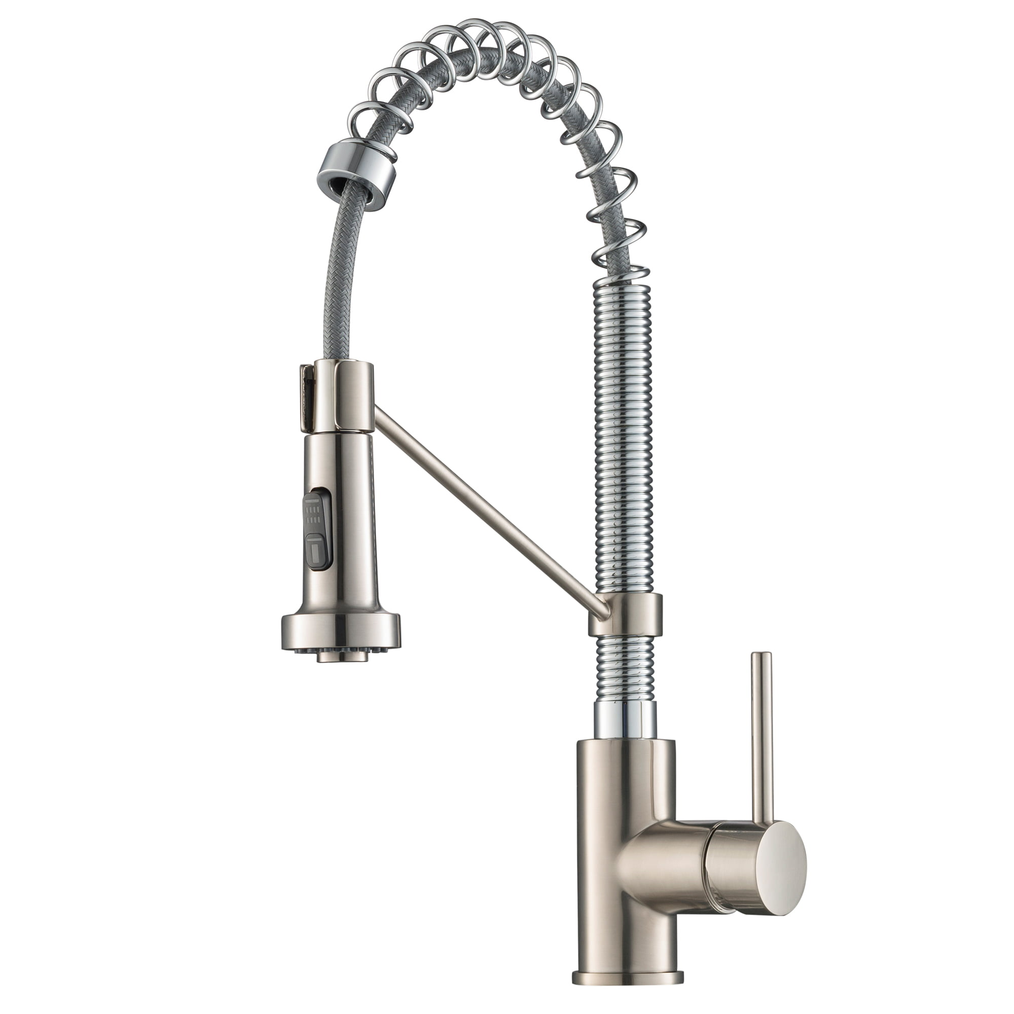 KRAUS Spot Free Bolden™ 18-Inch Commercial Kitchen Faucet with Dual Function Pull-Down Sprayhead in all-Brite™ Stainless Steel/Chrome Finish
