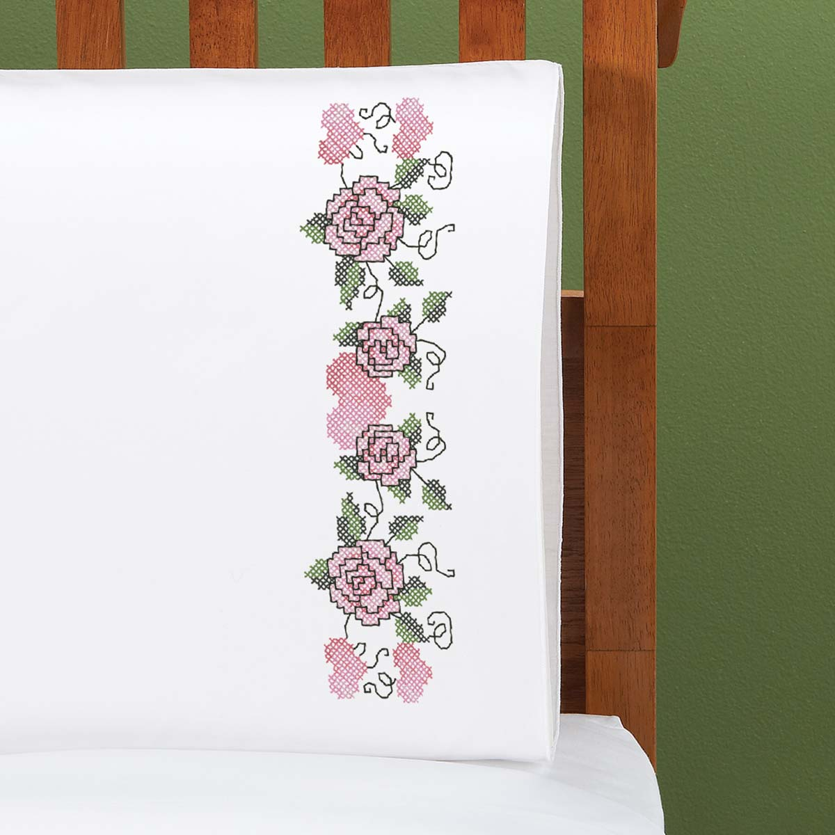 Herrschners® Sweet Rose Pillowcase Pair Stamped Cross-Stitch