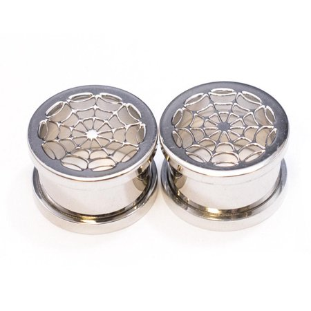 Spider Web Surgical Steel Plugs - 2 Gauge to 2