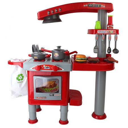 Your Kitchen & Grill Red Toy Kitchen Playset w/ Dishes, Toy Food, Utensils, Rotating Rinsing Action, Accessories, Rinsing Dishwasher Action, & Trash Bag Container