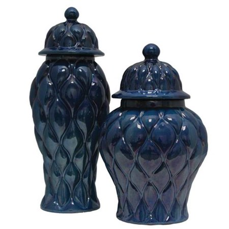 TIC Collection 17-460 Glossy Ceramic Sapphire Jars - Set of 2