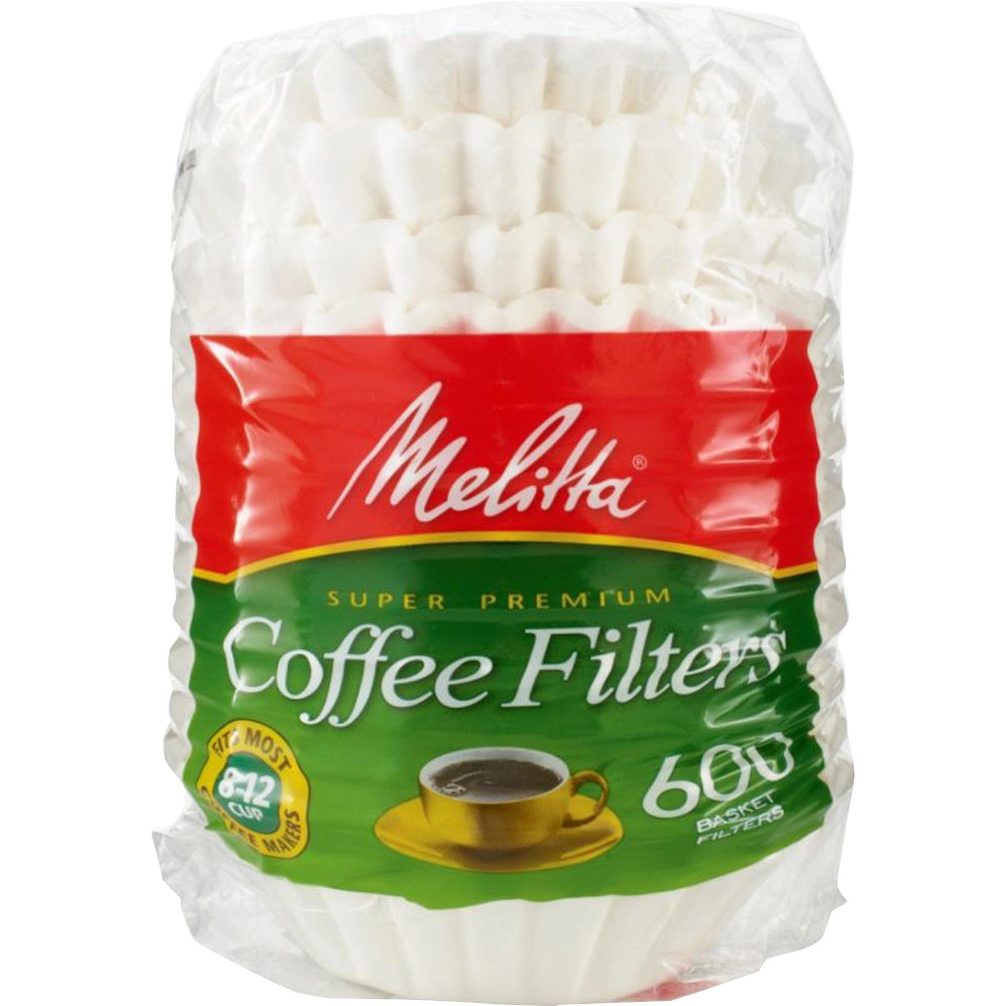 Melitta, MLA631132, Super Premium Basket-style Coffee Filter, 600 / Pack, White