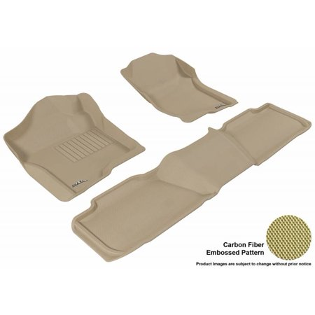 3D MAXpider 2007-2014 Chevrolet Tahoe 2Nd Row Bench Seat 1st Row 2nd Row Kagu Carbon Fiber Embossed Pattern Tan Floor Mat