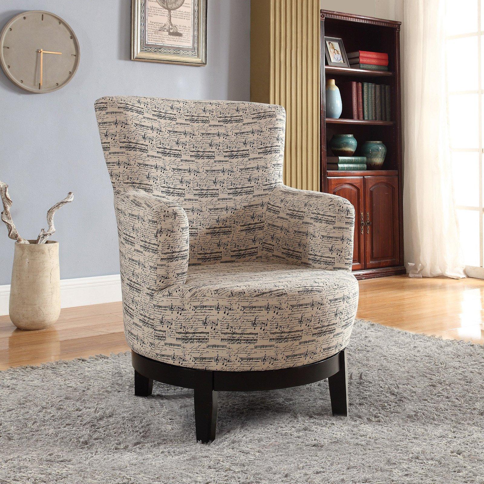 NH Designs Swivel Print Music Staff Accent Chair