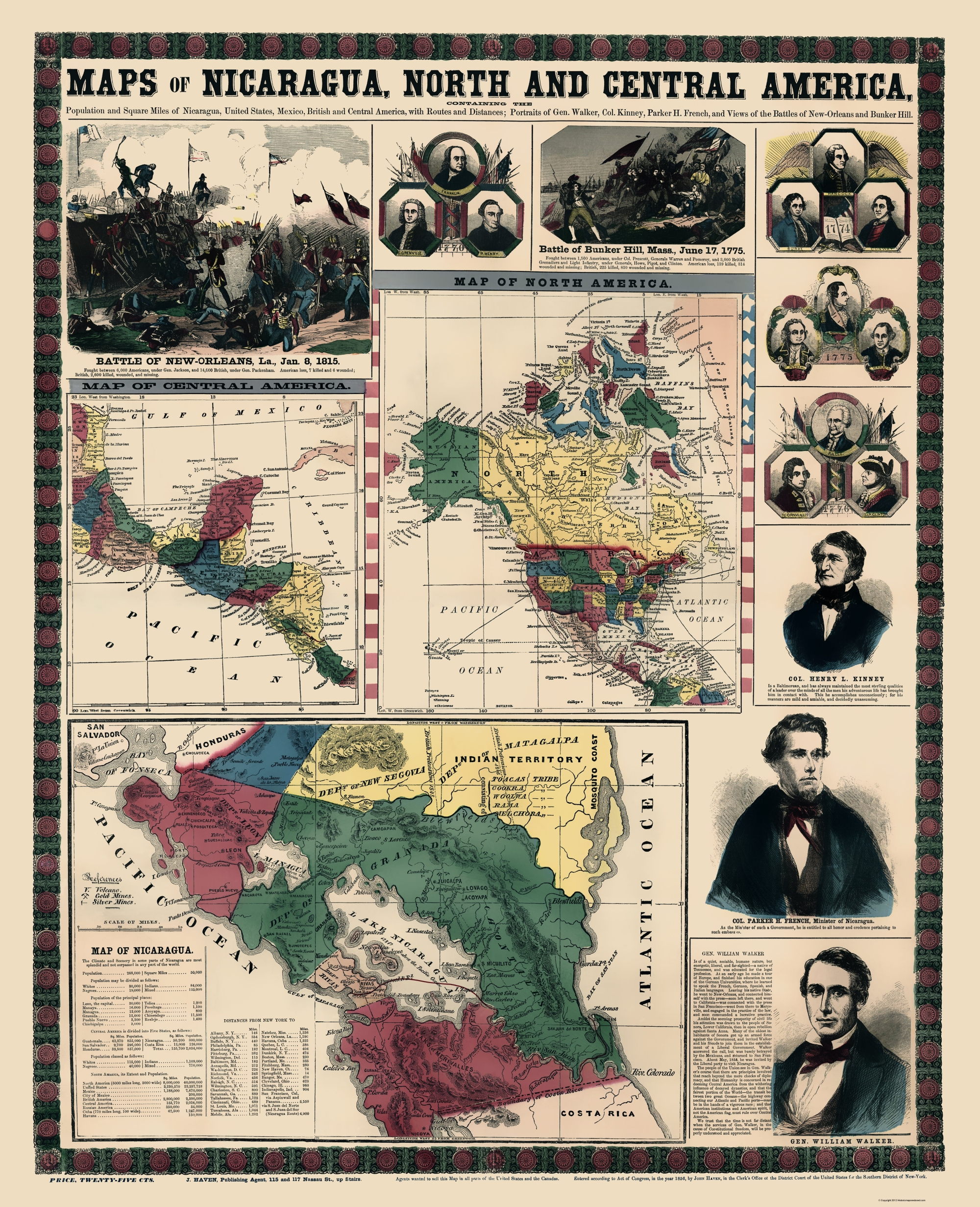 Nicaragua North Central America Haven 1856-23 x 28