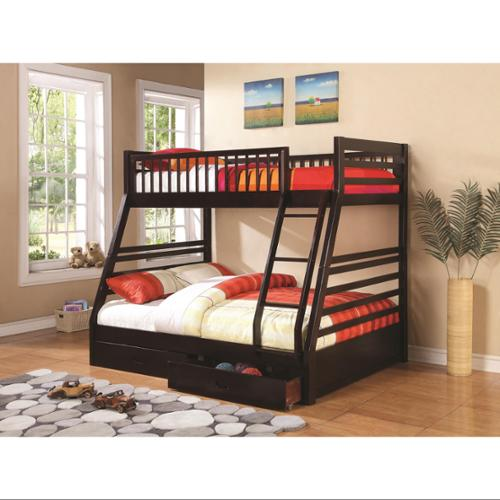 Twin over Full Bunk Bed-Finish:Cappuccino