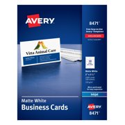 """Avery 2"""" x 3.5"""" Business Cards, Sure Feed, 1,000 Cards (8471)"""