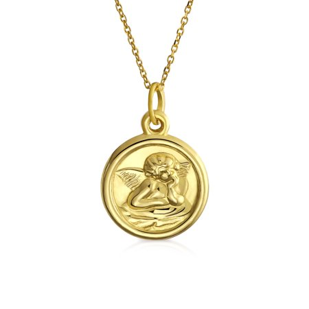 14K Yellow Real Gold Spiritual Guardian Angel Pendant 18 inch Gold Chain Round Necklace For Women Communion - Girls Communion Jewelry