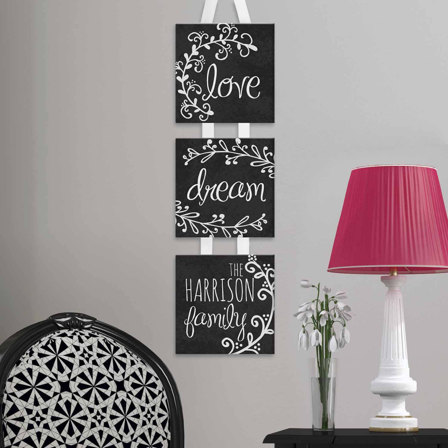 Personalized Love, Dream, Family Hanging Canvas