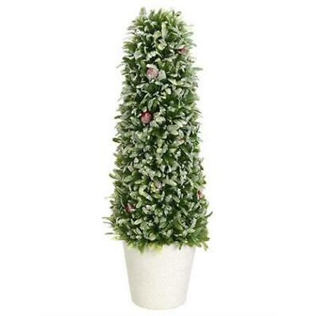 Fake Snowy Rosemary & Red Berry Holiday Cone Topiary in Pot - 16