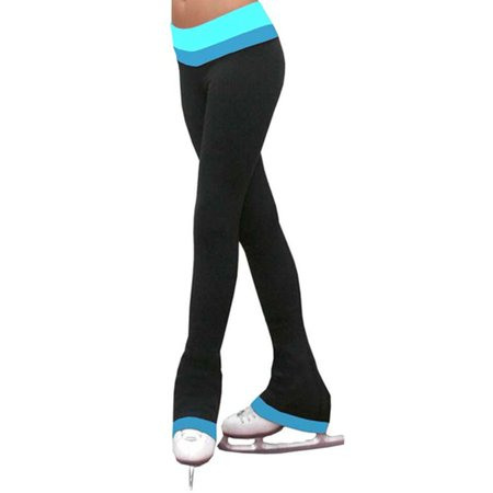 Ice Skating Pants (ChloeNoel Girls 2Tone Turquoise Waist Ice Skating Pants 5-12 Adult S-XL )