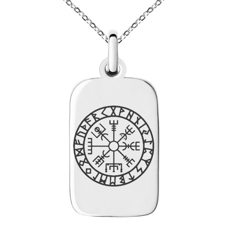 Stainless Steel Icelandic Vegvisir Viking Rune Engraved Small Rectangle Dog Tag Charm Pendant Necklace (Rectangle Dog Tag)