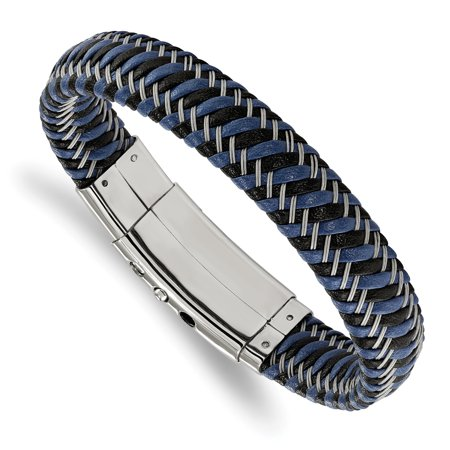 Stainless Steel Polished Black & Blue Leather Adj. 7.75in to 8.25in