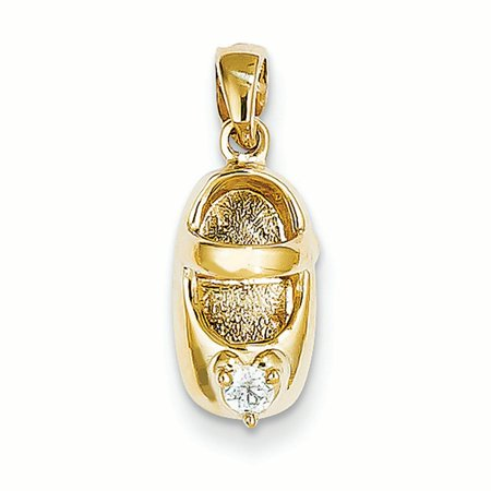 Golf Shoe Charm - 14K Yellow Gold 3-D April Birthstone Engravable Baby Shoe Charm Pendant