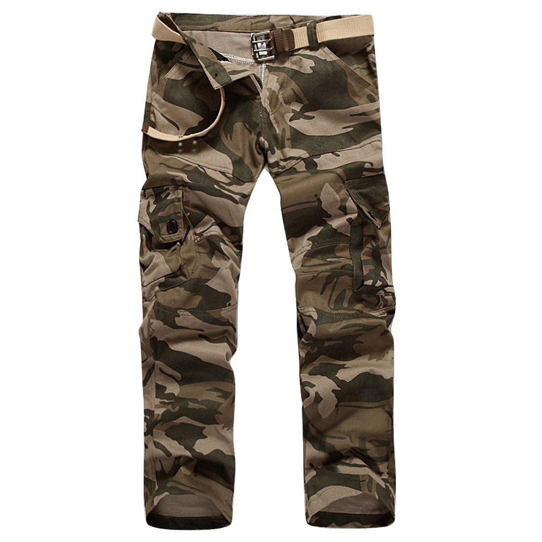 Natural Waist Double Flap Pockets Back Cargo Pants foren Army