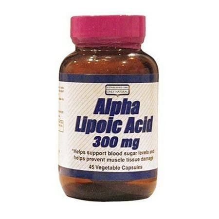 ONLY NATURAL Ácido alfa lipoico Antioxidante 300 mg 45 Cápsulas