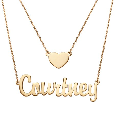 Personalized Women's Sterling Silver or Gold over Silver Script Nameplate and Heart Layered Double Necklace 14k Gold Script Name Necklace