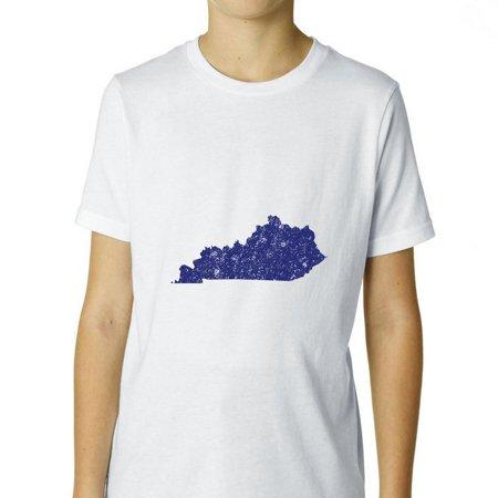 Kentucky Blue Democratic - Election Silhouette Boy's Cotton Youth T-Shirt ()