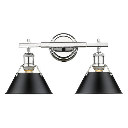 - Orwell CH 2 Light Bath Vanity in Chrome with Black Shade