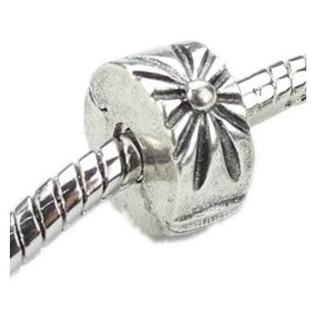 2 Piece Beaded Set (Beautiful 2 Piece Set of Antique Silver Tone Sunburst Clip Lock Stopper Bead Charm. Compatible With Troll, Biagi, Zable, Chamilia Charm Bracelets And Many More. )