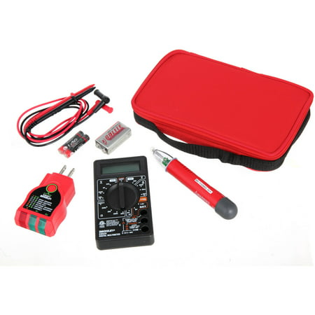 Voltage Pro 3 Piece Electrical Tester Kit With Storage Case