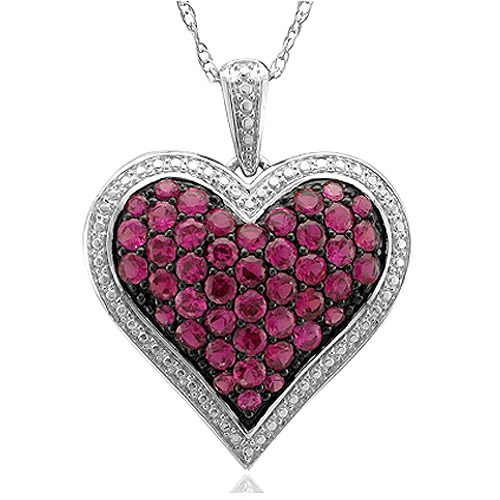 """1.72 Carat T.G.W. Created Ruby Sterling Silver Pave Heart Pendant, 20"""""""