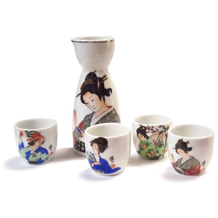 Wooden Sake - Sake Set with Maiden Motif, Japanese Porcelain
