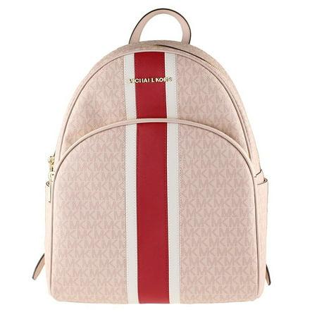 - Michael Kors Abbey Backpack Center Stripe in Signature PVC Ballet/Red