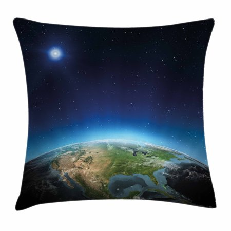 Earth Throw Pillow Cushion Cover  North America Continent On Globe Earth Galaxy Milky Way Realistic View  Decorative Square Accent Pillow Case  24 X 24 Inches  Indigo Light Blue Green  By Ambesonne