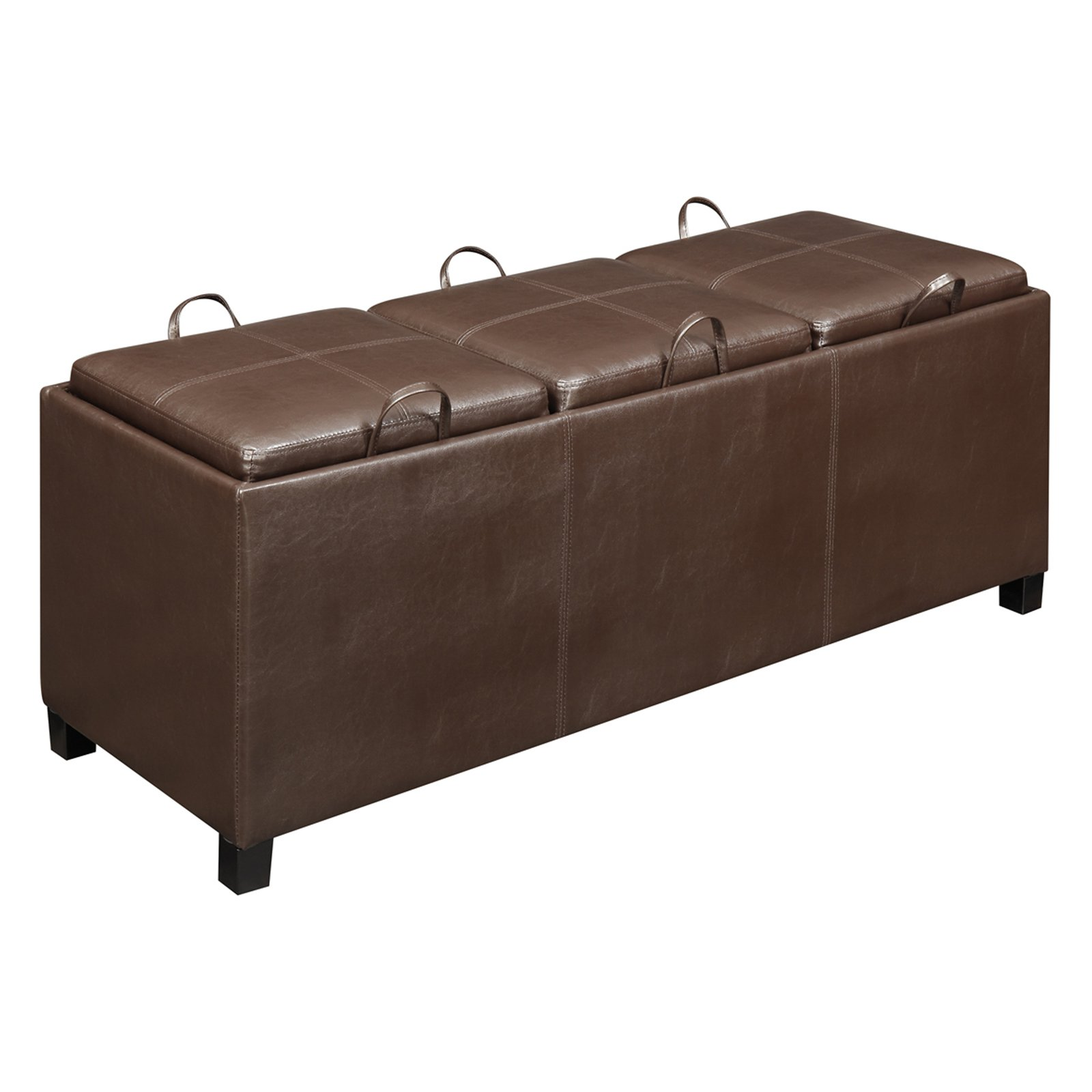 Designs4Comfort Faux Leather Storage Bench with 3 Tray Tops, Espresso