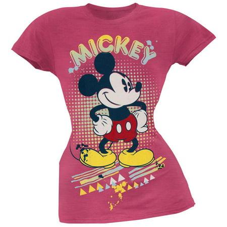 Mickey Mouse - Retro Splatter Juniors Soft T-Shirt - Mickey Mouse Halloween Shirt