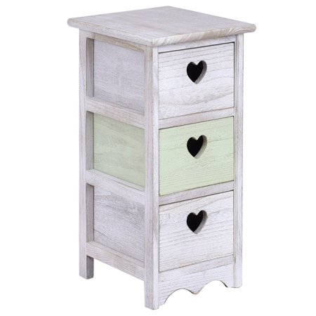 Wooden Bedside Table Nightstand Cabinet Bedroom Furniture W 3 Storage Drawer 1 By