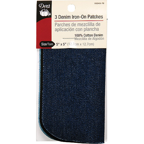 "Iron-On Patches 5"" x 5"", 3pk, Assorted Denim"