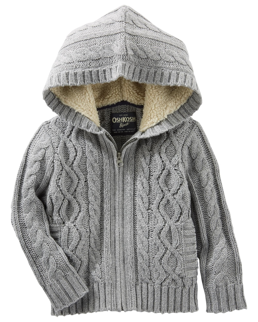 Carter's Little Boys' Grey Hooded Cable Knit Zip-Up (4 Kids)