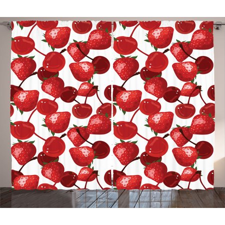 Red Decor Curtains 2 Panels Set, Strawberries Cherries Spring Fruits for Kitchen and Picnic Image, Window Drapes for Living Room Bedroom, 108W X 90L Inches, Burgundy Green and White, by - White And Burgundy