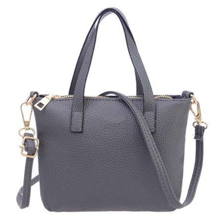 Women Mini PU Handbag Tote Shoulder Bag Crossbody Bag for Girls and Women Korean Style Lichee Pattern PU Bag - Light Grey + Random Logo ()