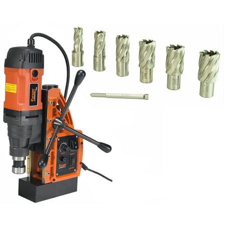 Cayken SCY-42HD 1.65in. Magnetic Drill Press with 1700W Variable Speed Motor Weldon Shank 7 Piece 1in. Cut Depth Annular Cutter