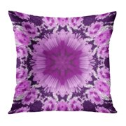 ECCOT Abstract Colored Symmetrical Pattern on Dark Purple in White Shades Central Six Pointed Figure Pillowcase Pillow Cover Cushion Case 16x16 inch