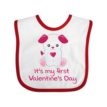 e4a3bfd1374e Valentine's Day Pink & White Puppy Dog with Love Letter Baby Bib -  Walmart.com