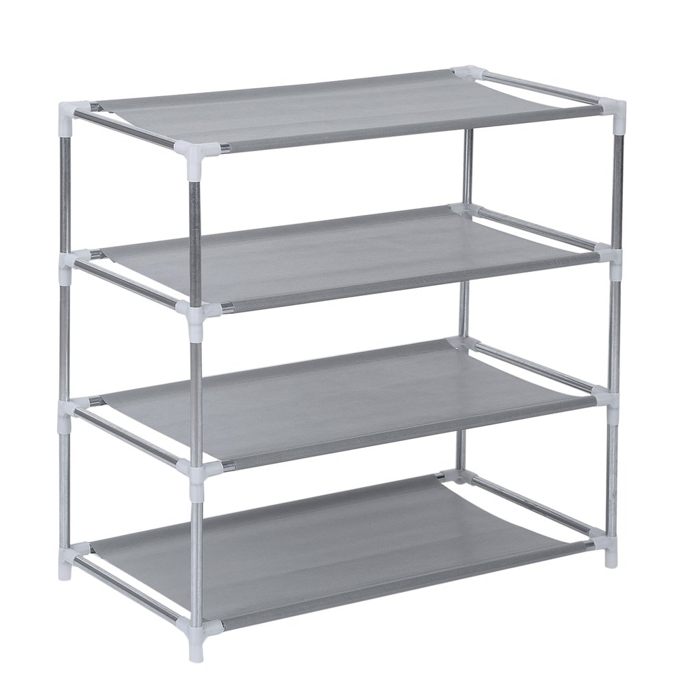 4 Tier Metal Shoe Rack Shoes Stand Removable Dust-Shelves Storage Organizer Shelf Holder Stackable Closet For 12 Pair Shoes