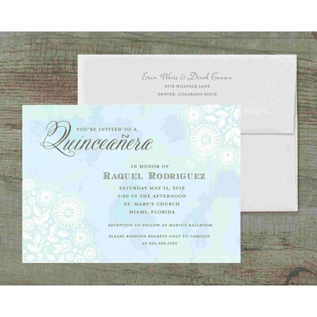 Watercolor Lace Deluxe Party Invites