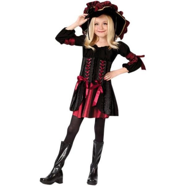Child' Stitch Pirate Girl Costume~Large 12-14   Black by