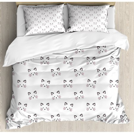 Kitten Duvet Cover Set, Sketching of a Blushing Cat Face Features Cartoon Style Hand Drawn Cat Whiskers, Decorative Bedding Set with Pillow Shams, Grey Pale Pink, by Ambesonne ()