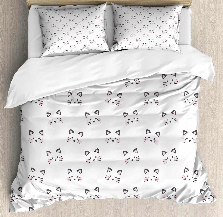 Pink Grey White Sketch Flower Print Double Duvet Cover Bedding Set Brand new