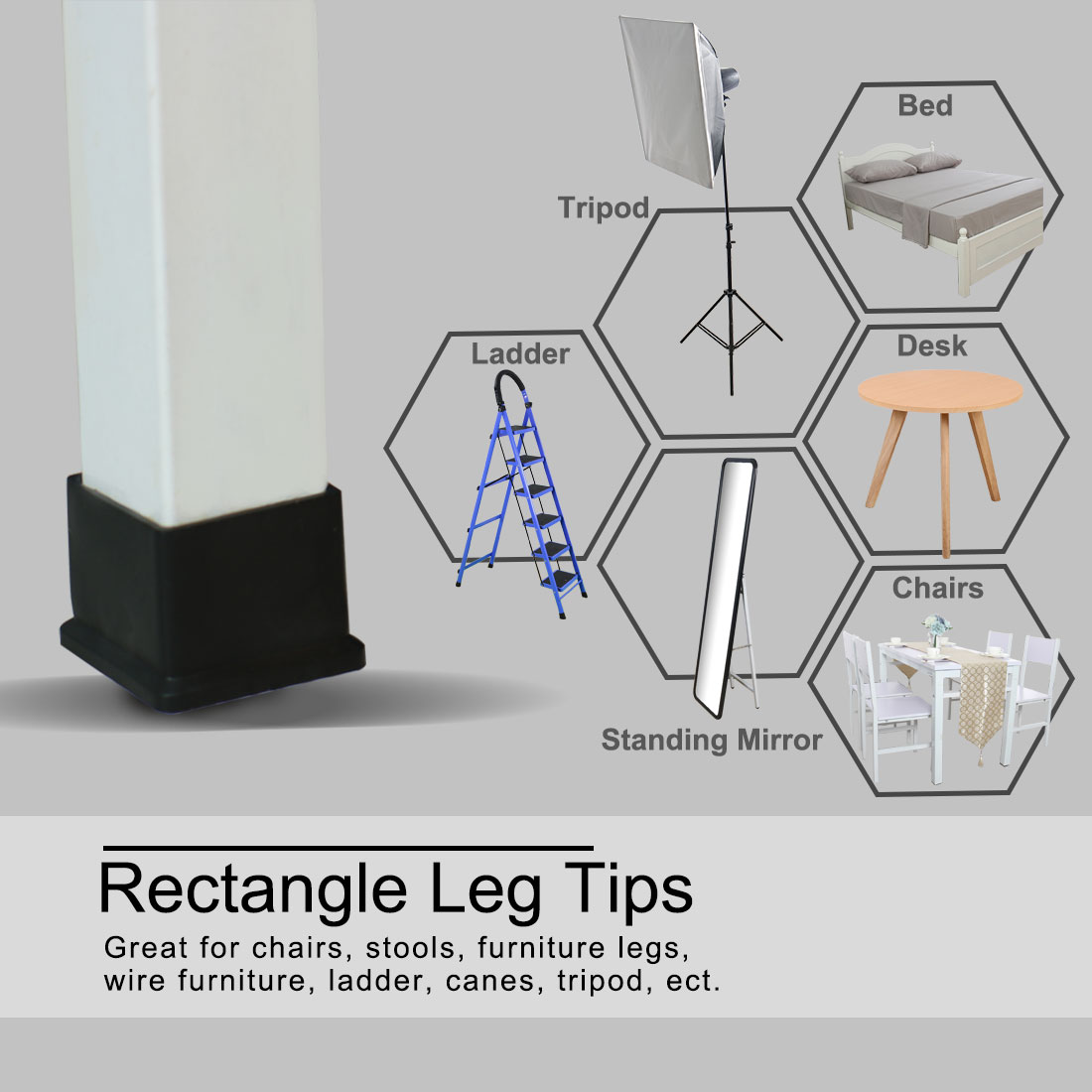 """Desk Table Leg Caps End Tip Home Furniture Protector 25pcs 1.77""""x1.77"""" (45x45mm) - image 6 of 7"""