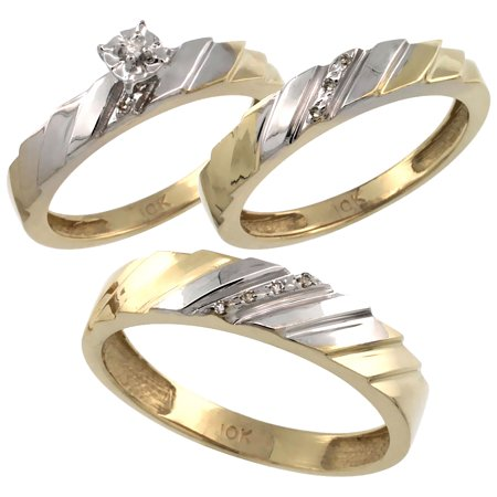 Cut Diamond Ring Band - 10k Gold 3-Pc. Trio His (5mm) & Hers (4mm) Diamond Wedding Ring Band Set, w/ 0.075 Carat Brilliant Cut Diamonds (Ladies' Sizes 5-10; Men's Sizes 8 to 14)