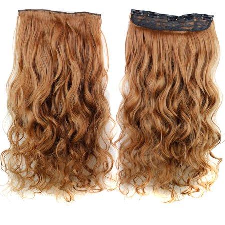 5 Clips 3/4 Pleine Tête Longue Bouclée Perruque Ondulée Agrafe En Extensions de Cheveux Synthétiques Naturels Postiches 18 Pouces Blond Noir pour Femmes Dames - image 1 of 5