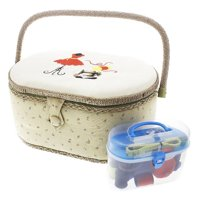 Vintage Sewing Basket Organizer Box Kit with Hand Sewing Supplies and Notions, Oval Shaped, 13 x 9 x 6 Inches